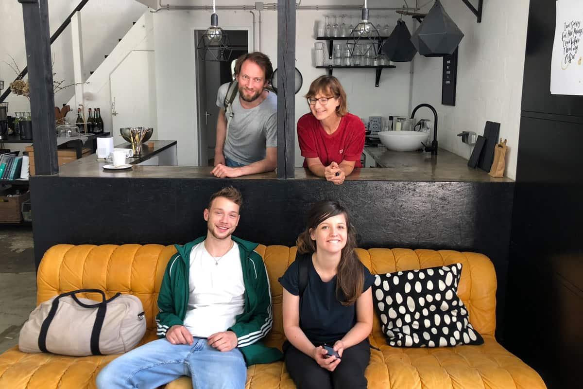 Bild vom YO*GUT Videodreh mit Katharina, Norman, Regisseur Leon und Heike.