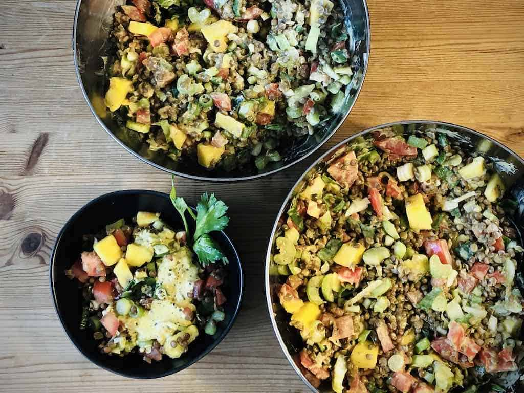 Linsensalat mit Curry-Joghurt-Dressing Rezept