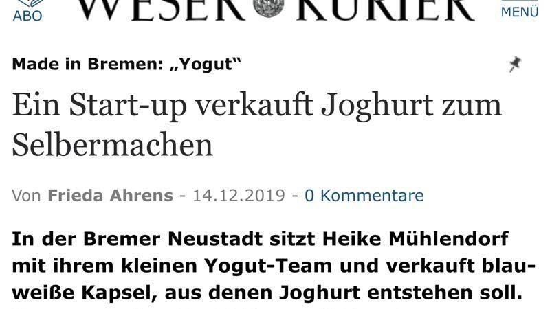 weser kurier artikel yogut starterkulturen
