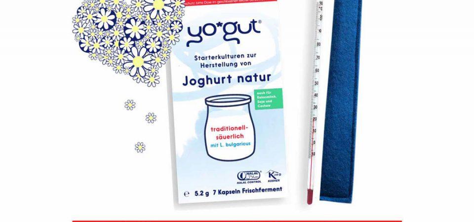 YOGUT Einsteigerset Joghurt selber machen mit Filzhülle